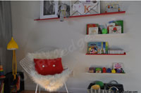 Red and White display shelves